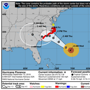 Hurricane Florence Barrels in on US East Coast