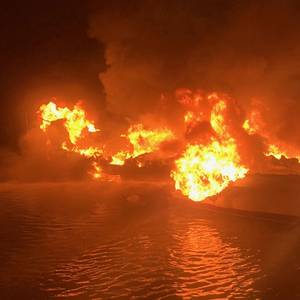 Three Rescued from Burning Fishing Vessel