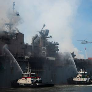 Video: USS Bonhomme Richard Blaze Continues