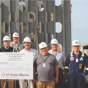 VT Halter Begins Building 3rd USN Berthing Barge