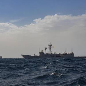 Warship Escorts New Ferry through the Gulf of Aden
