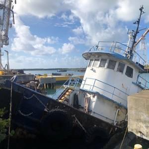 Partially Sunken Tug Leaking Oil in St. Croix