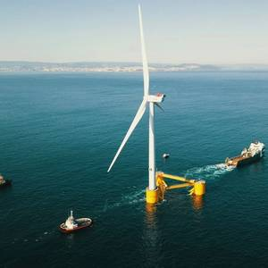 Final Windfloat Atlantic Floating Wind Turbine Heads Offshore