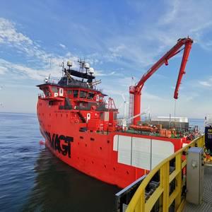 PHOTO: Siemens Gamesa Takes 'Esvagt Dana' Back to Baltic 2 Offshore Wind Farm