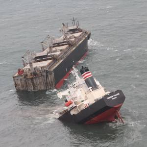 Wood-chip Carrier Runs Aground Off Japan. Hull Splits in Two, Oil Spills into Ocean