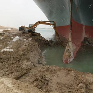 Suez Canal Traffic Suspended as Efforts Continue to Dislodge Grounded Ship