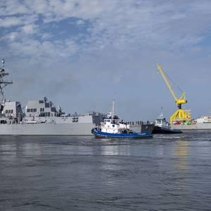 US' New Destroyer Delbert D. Black Departs Ingalls