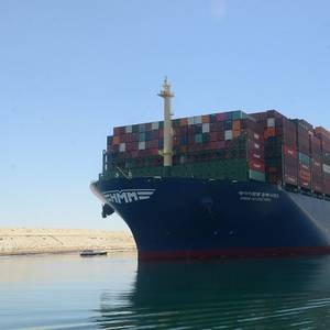 World's Largest Containership Sails Through the Suez Canal