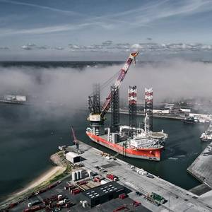 Pacific Osprey's Extended Crane Boom Operational