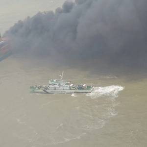 Fire Stricken Box Ship SSL Kolkata Sits Aground