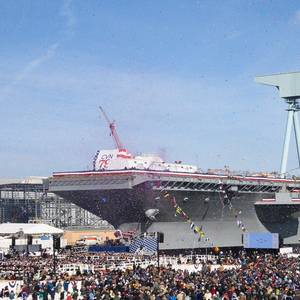 Aircraft Carrier John F. Kennedy Christened