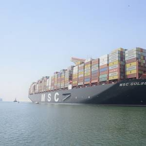 "23,756 TEU ""MSC Gulsun"" Transits Suez Canal"