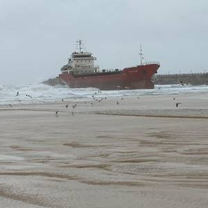 Storm Beaches Merchant Ship in Israel