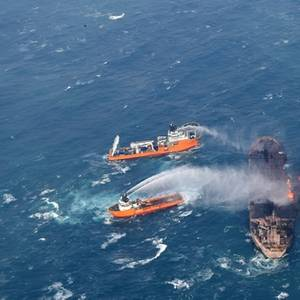 Salvagers Recover Two Bodies from Burning Tanker Sanchi