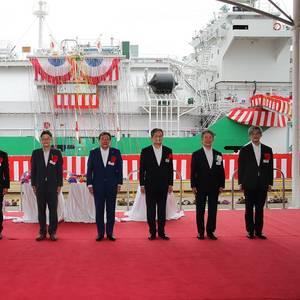 Japan's First LNG Bunkering Vessel Named at Sakaide Works