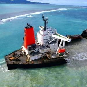 Grounded Bulk Carrier Wakashio Breaks Apart off Mauritius