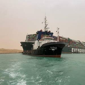 Ever Given Grounding Causes Vessel Logjam In and Near the Suez Canal