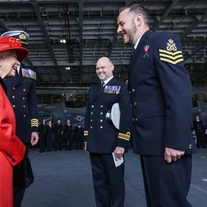 UK's Queen Elizabeth Visits New Aircraft Carrier Before Asia Voyage
