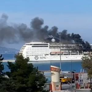 Video: Cruise Ship MSC Lirica Catches Fire in Corfu