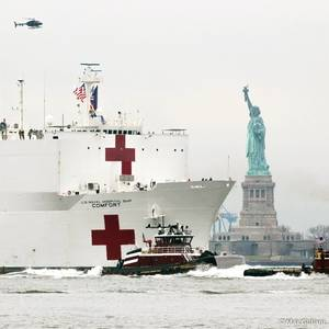 USNS Comfort Docks in New York