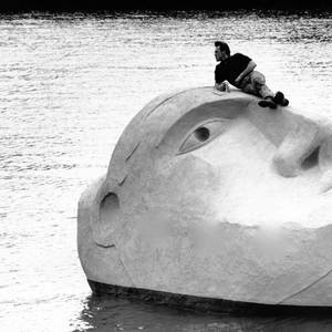 Iconic 27-ton 'Floating Head' finds itself Back in the Water