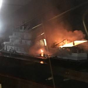 Towing Vessel Ablaze on the Lower Mississippi