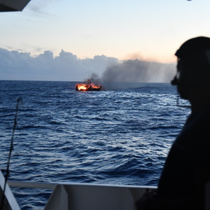 Burning Fishing Vessel Sinks Off Oahu