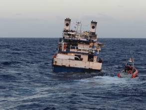 Seven Rescued from Sinking Freighter near Haiti