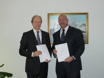 File Contract signing was attended by (from left to right):  Dirk Sancken for Navico;  Ralph Becker-Heins for MSG.