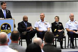 File Coast Guard hosts Rescue 21 ceremony in Baltimore. Donald Wilt, senior director of federal-civil programs for General Dynamics C4 Systems, speaks during a Coast Guard Rescue 21 communications system acceptance ceremony at the Coast Guard Yard in Baltimore, Aug. 19, 2010. His company was awarded the Rescue 21 production contract in September 2002. U.S. Coast Guard photo by Petty Officer 2nd Class Andrew Kendrick.