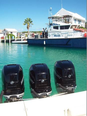 File The Royal Turks and Caicos Island Police Force Marine Police  are equipped with a variety of patrol boats to monitor and patrol their waters.  The three engines on this boat can achieve speeds up to 60 knots. Edward Lundquist