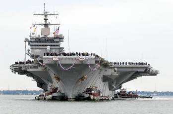 File USS Enterprise Arrives Norfolk Navy Base: Photo credit USN