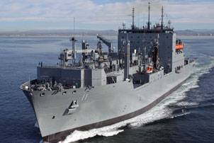 File Military Sealift Command dry cargo/ammunition ship USNS Washington Chambers exits San Diego Bay to complete its sea trials before delivery to MSC Feb. 23. (General Dynamics NASSCO photo)