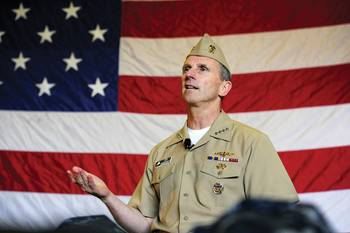 File CNO Adm. Jonathan Greenert talks to tidewater area Sailors during an all-hands call aboard the aircraft carrier USS George H.W. Bush (CVN 77). (U.S. Navy photo by Mass Communication Specialist 1st Class Peter D. Lawlor/Released)