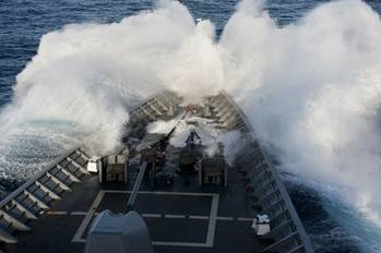 File USS Cowpens in Heavy Weather: Photo credit USN