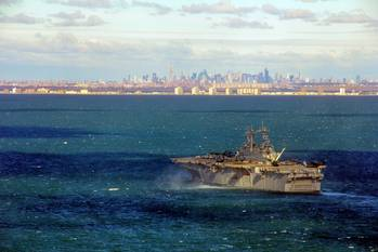 File USS Wasp Off NY: Photo credit US Marines