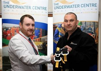 File Lee Duncan, Business Development Manager of C-Tecnics, (left) is pictured with The Underwater Centre's Training Operations Manager, James Ridgeway, Underwater Center's Training Operations Manager.
