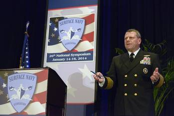 File Adm. Bill Gortney, commander of U.S. Fleet Forces (USFF), leads a discussion about the Optimized Fleet Response Plan (O-FRP) at the 26th annual Surface Navy Association Symposium (SNA) (U.S. Navy photo by Capt. Jane Campbell)