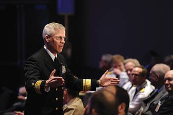 File Rear Adm. Matthew Klunder, chief of naval research, discusses rapid innovation during the Surface Navy Association (SNA) 26th Annual National Symposium. (U.S. Navy photo by John F. Williams/Released)