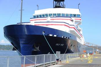 File R/V Sally Ride (AGOR 28) is prepared for a christening ceremony at Dakota Creek Industries, Inc. shipyard in Anacortes, Wash. R/V Sally Ride is the second in the Neil Armstrong-class of research vessels and features a modern suite of oceanographic and acoustic ocean mapping equipment. (U.S. Navy photo by John F. Williams)