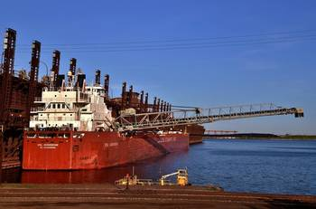 File CSL Assiniboine loading iron ore at the CN/Duluth dock. Photo by Diane Hilden/courtesy Duluth Seaway Port Authority
