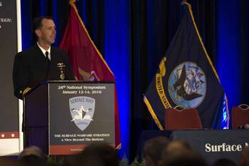 File Chief of Naval Operations (CNO) Adm. John Richardson speaks at the 28th annual Surface Navy Association Symposium in the Crystal City section of Arlington, Va. (U.S. Navy photo by Mass Communication Specialist 1st Class Jessica Bidwell)