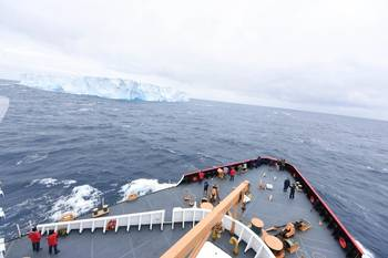 File Passengers and the crew of CGC Polar Star gather to observe their first encounter with ice during Operation Deep Freeze 2016 in the Southern Ocean Jan. 3, 2016. (U.S. Coast Guard photo by Grant DeVuyst)