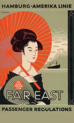 File Hapag used Far Eastern motifs to advertise its East Asia services.