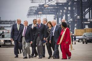 File Vice President Joe Biden and Secretary of Transportation Anthony Foxx meet with Congressional member Gene Green, Port of Houston Authority Executive Director Len Waterworth, Port Commission Chairman Janiece Longoria, Port Commissioner Clyde Fitzgerald, and Congressional member Sheila Jackson Lee.