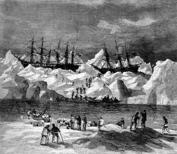 File Abandonment of the whalers in the Arctic Ocean, September 1871, including the George, Gayhead, and Concordia. This illustation originally ran in Harper's Weekly in 1871. (Credit: Robert Schwemmer Maritime Library)