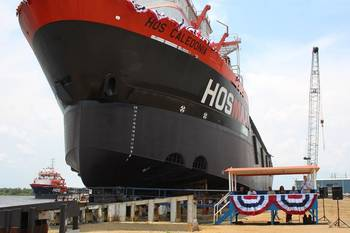 File Launch ceremony of HOS Caledonia. The HOS Clearview can be seen in the background. (Photo: VT Halter Marine)