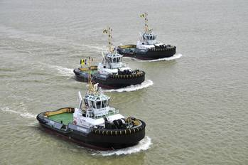 File Three Damen ASD 2810 tugs (Photo: Damen).