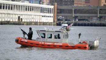 File A Coast Guard maritime safety and security team patrols the Hudson River. U.S. Coast Guard photo by Petty Officer 3rd Class Michael Himes.