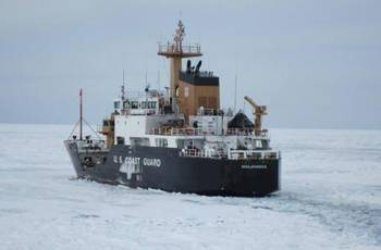 File Coast Guard Cutter Hollyhock continues breaking ice as it transits to St. Ignace, Mich., to undergo a full damage assessment. (U.S. Coast Guard photo)